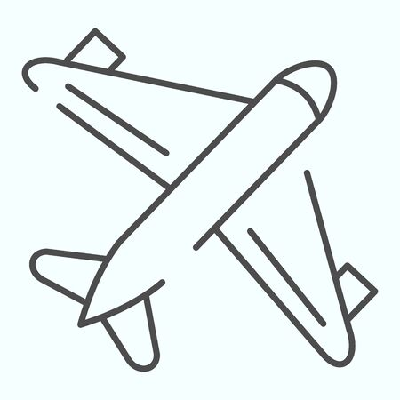 Aircraft thin line icon. Airplane illustration isolated on white. Plane in the air outline style design, designed for web and app. Eps 10. Illustration