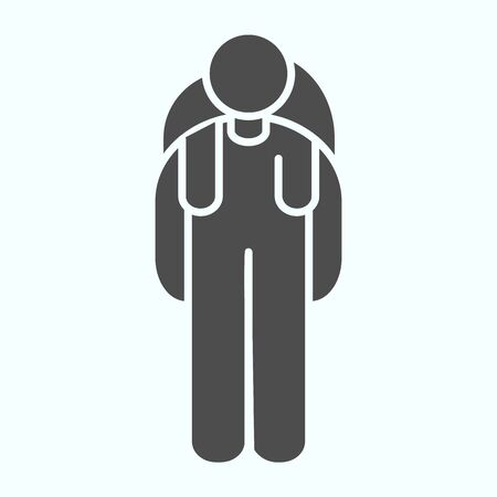 Tourist solid icon. Person with backpack vector illustration isolated on white. Tourist traveler glyph style design, designed for web and app. Eps 10.