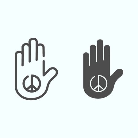 Peace in the palm line and solid icon. Hand peace symbol vector illustration isolated on white. Hippie arm tatoo outline style design, designed for web and app.