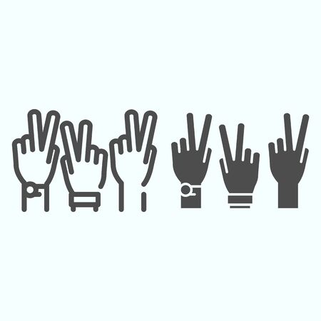 Peace Hands line and solid icon. Fingers of arms with peace symbol vector illustration isolated on white. Get involved outline style design, designed for web and app.