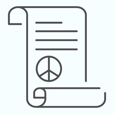 Icono de delgada línea del tratado de paz. Documento con la ilustración de vector de símbolo de paz aislado en blanco. Símbolo del Pacífico en el diseño de estilo de esquema de hoja, diseñado para web y aplicaciones. Eps 10.
