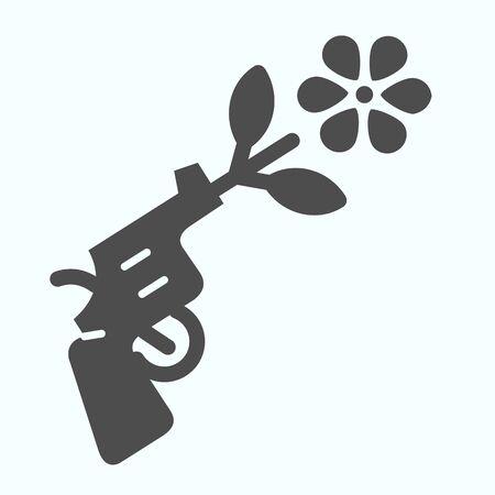 Icona solida della pistola della pace. Pistola con illustrazione vettoriale simbolo di pace isolato su bianco. Design in stile glifo del fiore con tiro a pistola, progettato per web e app. Eps 10. Vettoriali