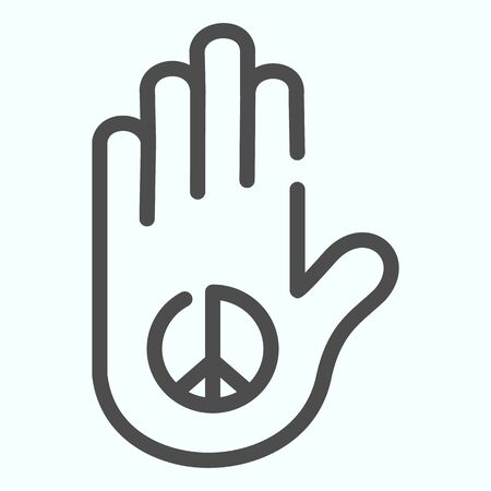 Peace in the palm line icon. Hand peace symbol vector illustration isolated on white. Hippie arm tatoo outline style design, designed for web and app. Eps 10.