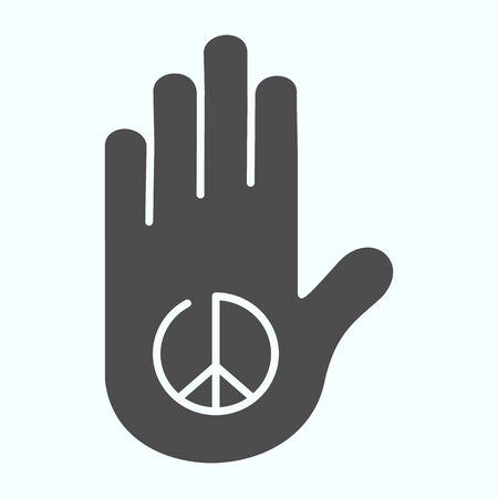 Peace in the palm solid icon. Hand peace symbol vector illustration isolated on white. Hippie arm tatoo glyph style design, designed for web and app. Eps 10. Illusztráció