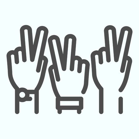 Peace Hands line icon. Fingers of arms with peace symbol vector illustration isolated on white. Get involved outline style design, designed for web and app. Eps 10.
