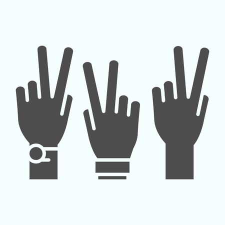 Peace Hands solid icon. Fingers of arms with peace symbol vector illustration isolated on white. Get involved glyph style design, designed for web and app. Eps 10.