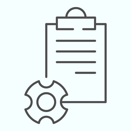 Technical documentation thin line icon. Instruction for astronaut with gear wheel.