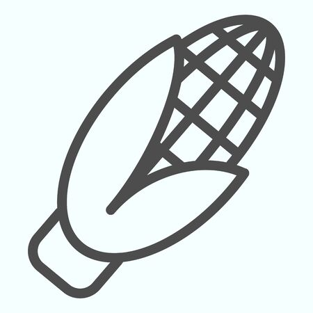 Corn line icon. Open vegatable plant with leaves. Autumn harvest season vector design concept, outline style pictogram on white background, use for web and app. Ilustracja