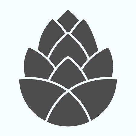 Pinecone brewery plant solid icon. One single flower of pine cone.