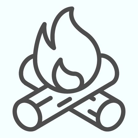 Bonfire line icon. Two burned bones and fire in the forest.