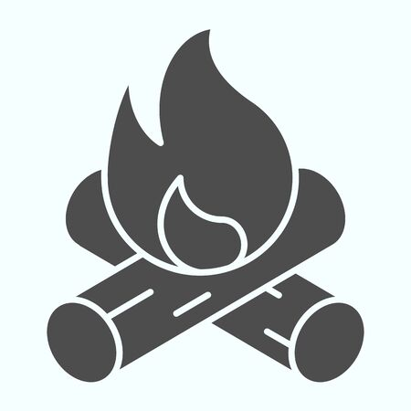 Bonfire solid icon. Two burned bones and fire in the forest.