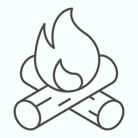 Bonfire thin line icon. Two burned bones and fire in the forest. Illusztráció