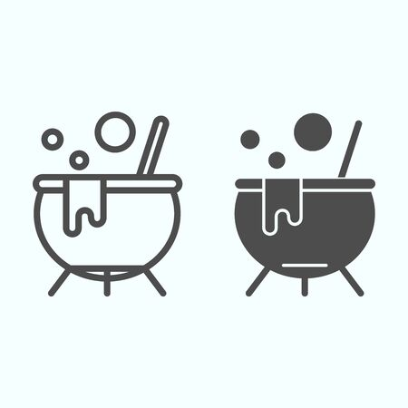 Witch boiler pot line and solid icon. Smoking cauldron with a magic potion. Halloween design concept