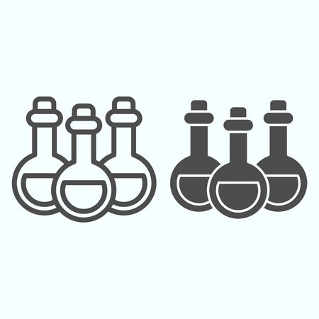 Alchemy potion cans line and solid icon. Six glass bottles with poison. Ilustração