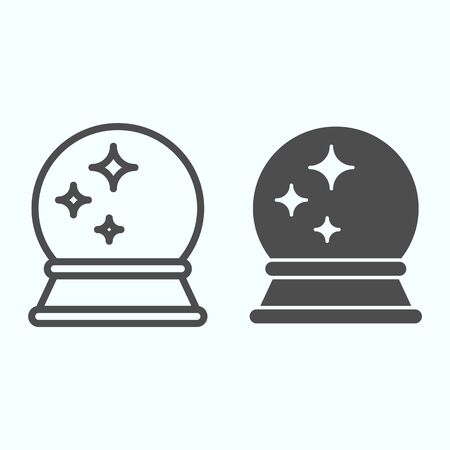 Magic ball line and solid icon. Fortune teller round crystal with shiny stars.