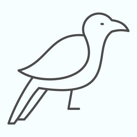 Crow thin line icon. Scary dark corvus bird.
