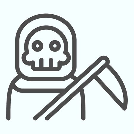 Death person line icon. Stranger in a coat with scytche. Halloween design concept