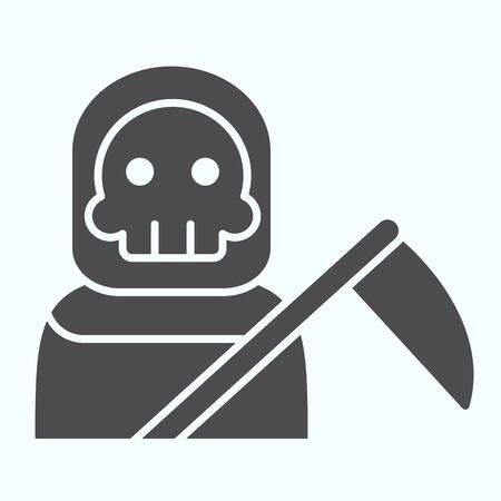 Death person solid icon. Stranger in a coat with scytche. Halloween design concept
