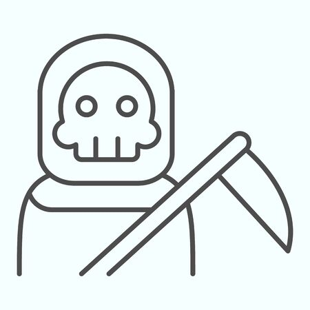Death person thin line icon. Stranger in a coat with scytche. Halloween design concept