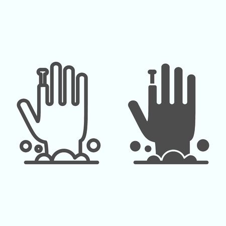 Monster arm line and solid icon. Hand appeared from potion of smoke and bubbles. Halloween  design concept