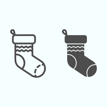 Sock line and solid icon. Knitted decoration with waves for donating presents. Christmas vector design concept, outline style pictogram on white background, use for web and app. Eps 10.