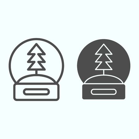 Snow globe line and solid icon. Glass crystal ball with new year eve tree souvenir. Christmas vector design concept, outline style pictogram on white background, use for web and app. Eps 10.