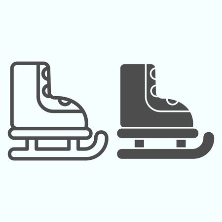 Ice skates line and solid icon. Winter sports activity item. Christmas vector design concept, outline style pictogram on white background, use for web and app. Eps 10.