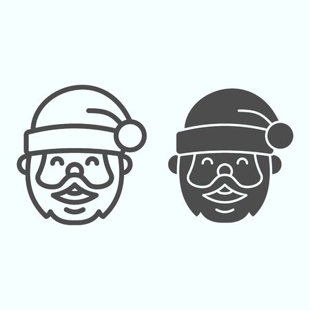 Santa Claus line and solid icon. Grandfather smilling face with conic hat. Christmas vector design concept, outline style pictogram on white background, use for web and app. Eps 10.