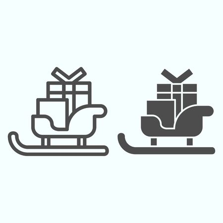Sleigh with skis line and solid icon. Santa Claus sled with present gift boxes. Christmas vector design concept, outline style pictogram on white background, use for web and app. Eps 10.
