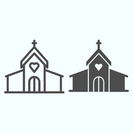 Church line and solid icon. Christian religion prayers building with window and cross on top. Christmas vector design concept, outline style pictogram on white background, use for web and app. Eps 10.