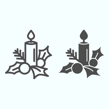Candle with mistletoe line and solid icon. Decoration of berry, leaves and wax suppository. Christmas vector design concept, outline style pictogram on white background, use for web and app. Eps 10. Çizim