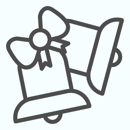 Bells line icon. Two jingle-bells with ribbon bow. Christmas vector design concept, outline style pictogram on white background, use for web and app. Eps 10.  イラスト・ベクター素材