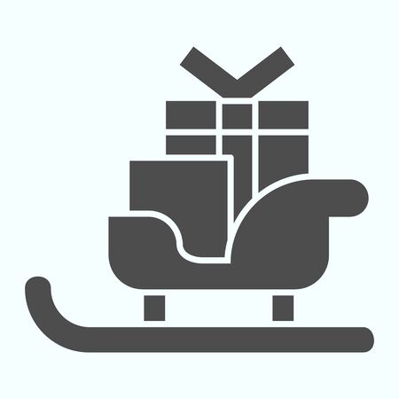 Sleigh with skis solid icon. Santa Claus sled with present gift boxes. Christmas vector design concept, glyph style pictogram on white background, use for web and app. Eps 10.