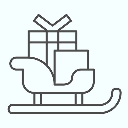 Sleigh with skis thin line icon. Santa Claus sled with present gift boxes. Christmas vector design concept, outline style pictogram on white background, use for web and app. Eps 10.