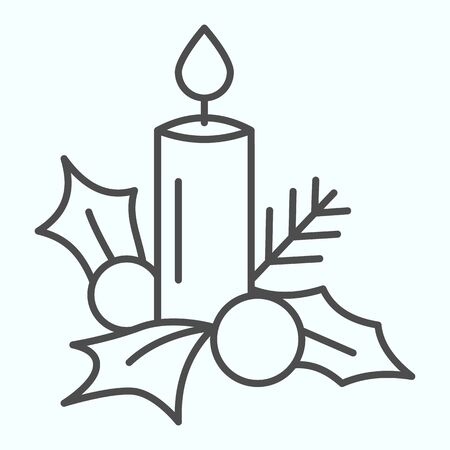 Candle with mistletoe thin line icon. Decoration of berry, leaves and wax suppository. Christmas vector design concept, outline style pictogram on white background, use for web and app. Eps 10. Çizim