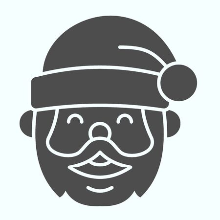 Santa Claus solid icon. Grandfather smilling face with conic hat. Christmas vector design concept, glyph style pictogram on white background, use for web and app. Eps 10. Çizim