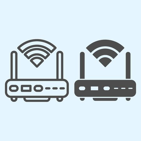 Wireless router line and solid icon. Wireless network switch with antenna and signal coverage sign. Horeca vector design concept, outline style pictogram on white background, use for web and app. Eps