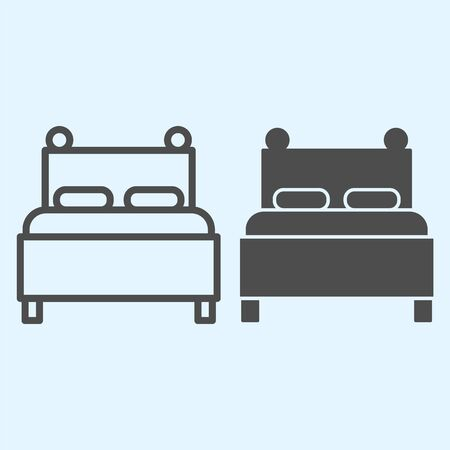 Twin bed line and solid icon. Double couch for sleeping, with two pillows. Horeca vector design concept, outline style pictogram on white background, use for web and app. Eps 10.
