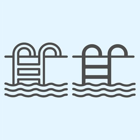 Swimming pool line and solid icon. Swim leisure activity, iron step ladder in water container. Horeca vector design concept, outline style pictogram on white background, use for web and app. Eps 10.