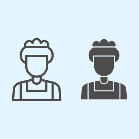 Maid line and solid icon. Household, hotel room cleaning service, woman with cap. Horeca vector design concept, outline style pictogram on white background, use for web and app. Eps 10.