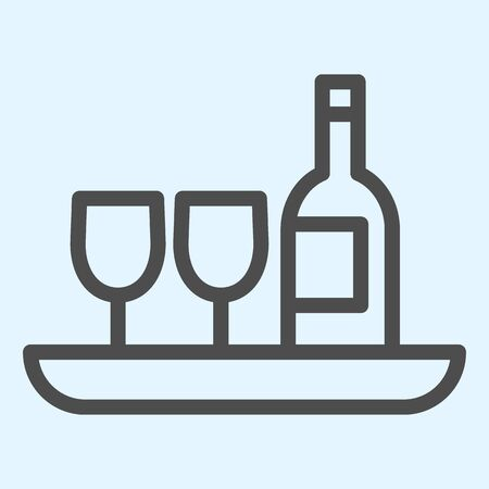 Wine bottle and glass line icon. Hotel drink, champagne and two glasses on a tray. Horeca vector design concept, outline style pictogram on white background, use for web and app. Eps 10.