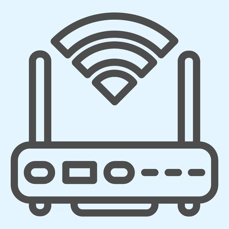 Wireless router line icon. Wireless network switch with antenna and signal coverage sign. Horeca vector design concept, outline style pictogram on white background, use for web and app. Eps 10.