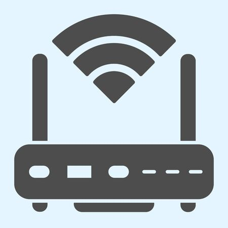 Wireless  router solid icon. Wireless network switch with antenna and signal coverage sign. Horeca vector design concept, glyph style pictogram on white background, use for web and app. Eps 10. 일러스트