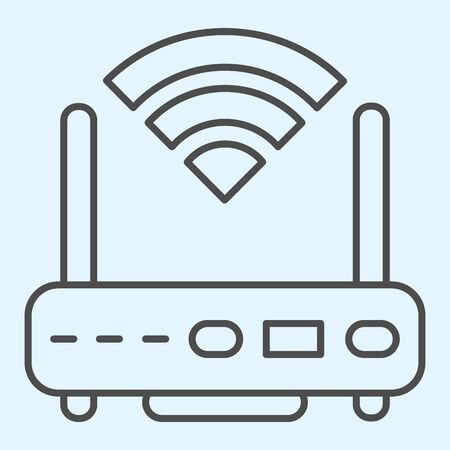Wireless  router thin line icon. Wireless network switch with antenna and signal coverage sign. Horeca vector design concept, outline style pictogram on white background, use for web and app. Eps 10.