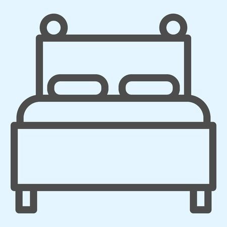 Twin bed line icon. Double couch for sleeping, with two pillows. Horeca vector design concept, outline style pictogram on white background, use for web and app. Eps 10.
