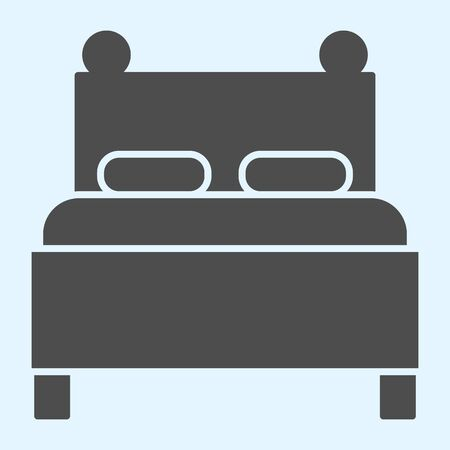 Twin bed solid icon. Double couch for sleeping, with two pillows. Horeca vector design concept, glyph style pictogram on white background, use for web and app. Eps 10.