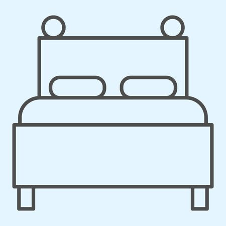 Twin bed thin line icon. Double couch for sleeping, with two pillows. Horeca vector design concept, outline style pictogram on white background, use for web and app. Eps 10. Иллюстрация