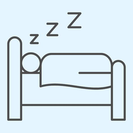 Sleeping time thin line icon. Person sleep on bed. Horeca vector design concept, outline style pictogram on white background, use for web and app. Eps 10.