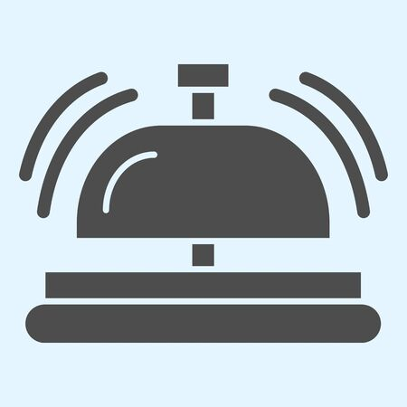Reception solid icon. Hotel inventory, bell ringing attention sound. Horeca vector design concept, glyph style pictogram on white background, use for web and app. Eps 10.  イラスト・ベクター素材