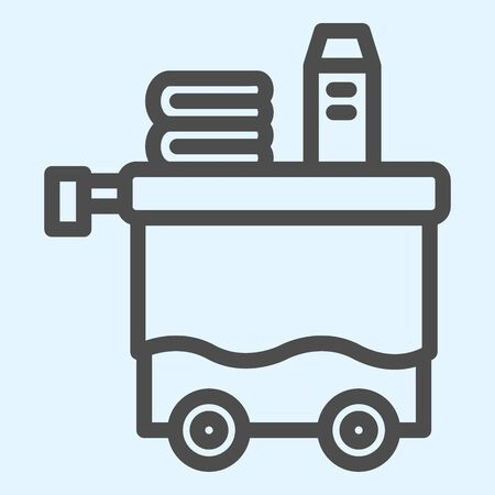 Room service line icon. Servant inventory, cleaning tray cart. Horeca vector design concept, outline style pictogram on white background, use for web and app. Eps 10.